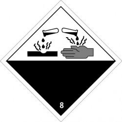 Etiquette de Danger 100x100 classe 8 - Rouleau de 1000u