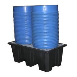 Bac de rétention polyéthylène 2 futs avec caillebotis Acier