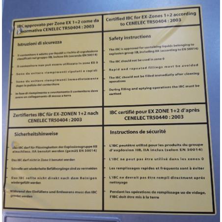 Cuve 1000l IBC - GRV ATEX antistatique