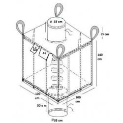 Big-Bag Carré avec goulottes de remplissage et vidange Non ADR