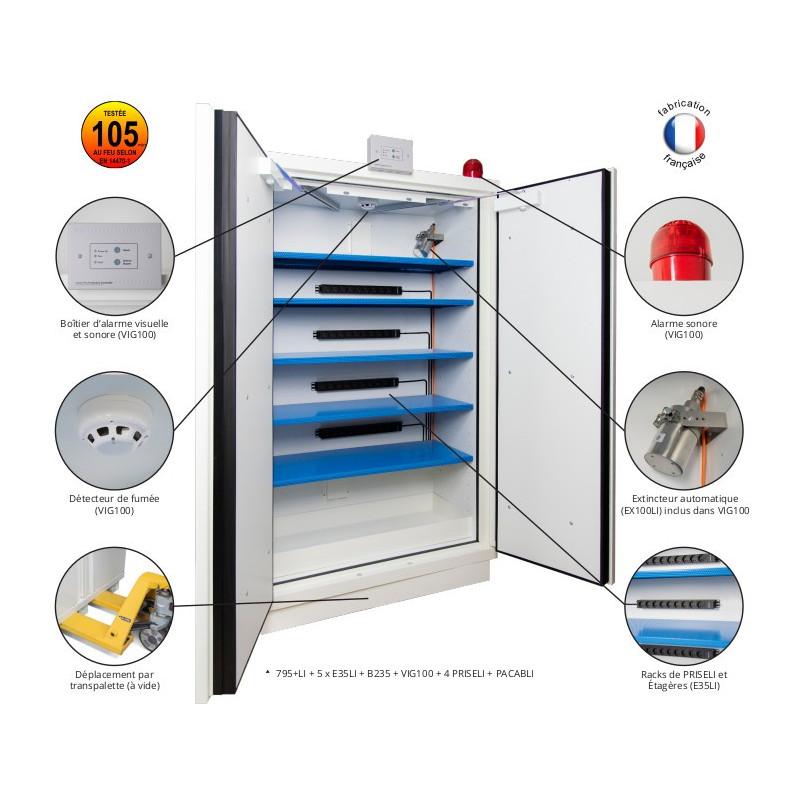 Armoire batteries Lithium coupe feu 105 min