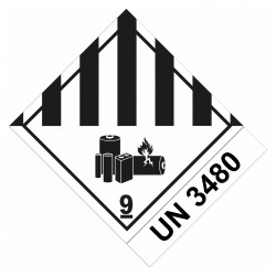 Etiquette de Danger 100x100 classe 9A + UN3480 - Rouleau de 1000u