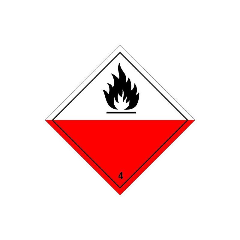 Etiquette de Danger 100x100 classe 4.2 - Rouleau de 1000u