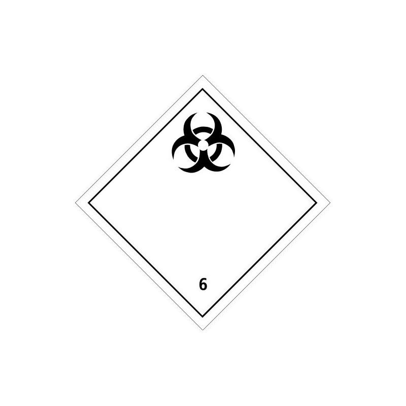 Etiquette de Danger 100x100 classe 6.2 - Rouleau de 1000u
