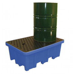 Bac de rétention polyéthylène 2 fûts avec caillebotis Polyéthylène
