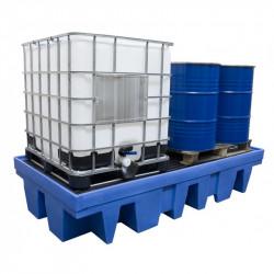 Bac de rétention Polyéthylène pour 2 GRV ou 8 fûts avec caillebotis