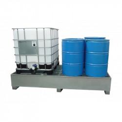 Bac de rétention pour 2 cuves 1000l GRV ou 8 fûts Acier galvanisé