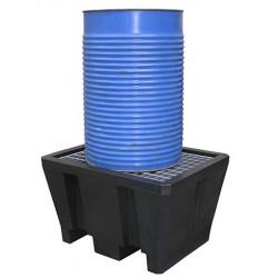 Bac de rétention polyéthylène 1 fût avec caillebotis Acier