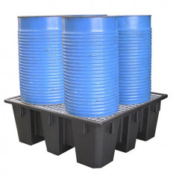 Bac de rétention polyéthylène 4 fûts avec caillebotis Acier